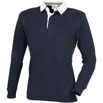 textil Herr Långärmade pikétröjor  Front Row FR104 Marinblått