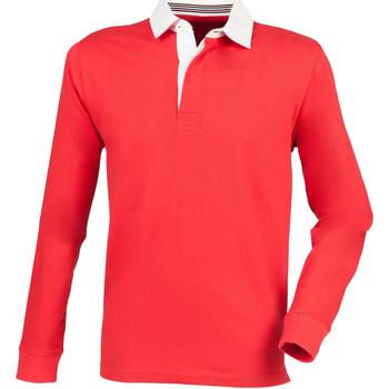 textil Herr Långärmade pikétröjor  Front Row FR104 Röd