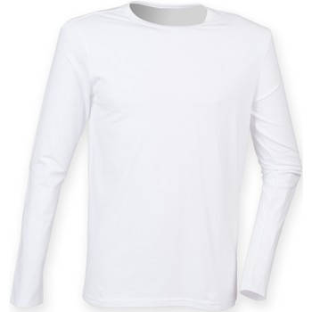 textil Herr Långärmade T-shirts Skinni Fit SF124 Vit