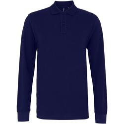 textil Herr Långärmade pikétröjor  Asquith & Fox AQ030 Marinblått