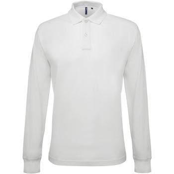 textil Herr Långärmade pikétröjor  Asquith & Fox AQ030 Vit