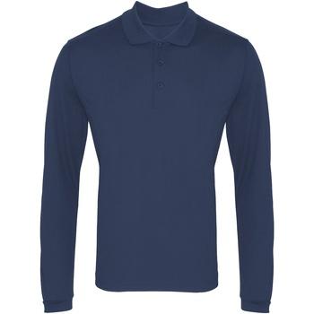 textil Herr Långärmade pikétröjor  Premier PR617 Marinblått