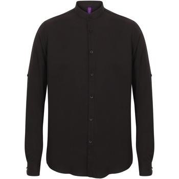 textil Herr Långärmade skjortor Henbury HB592 Svart