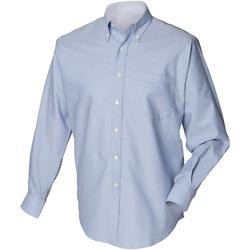 textil Herr Långärmade skjortor Henbury HB510 Blå