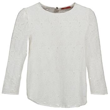 textil Dam Långärmade T-shirts Esprit VASTAN Vit