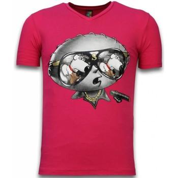 textil Herr T-shirts Local Fanatic Stewie Dog Fuschia Rosa