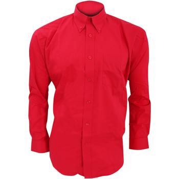 textil Herr Långärmade skjortor Kustom Kit KK105 Röd