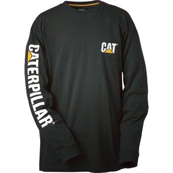 textil Herr Långärmade T-shirts Caterpillar Trademark Svart
