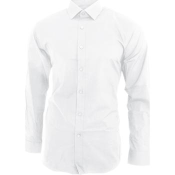 textil Herr Långärmade skjortor Brook Taverner BK130 Vit