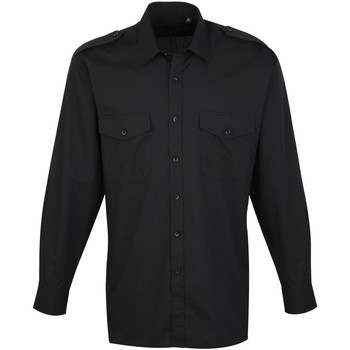 textil Herr Långärmade skjortor Premier PR210 Svart