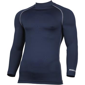 textil Herr Långärmade T-shirts Rhino RH001 Marinblått