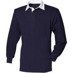 textil Barn Långärmade pikétröjor  Front Row FR109 Marinblått
