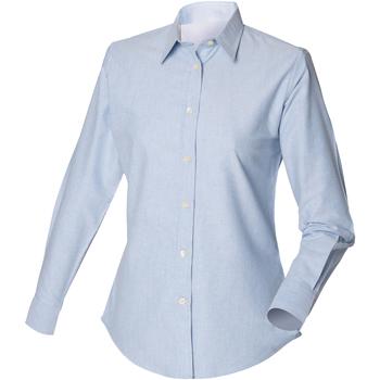 textil Herr Långärmade skjortor Henbury Classic Oxford Blå