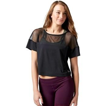 textil Dam T-shirts Reebok Sport Cardio Fashion Top Svarta